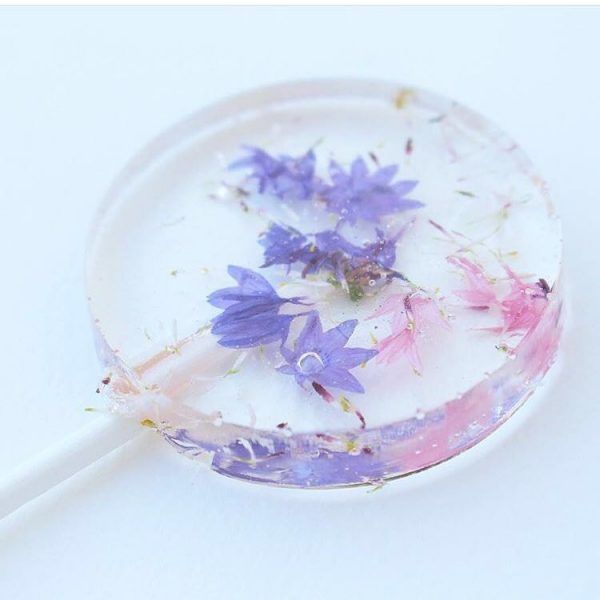 edible flower lollipops