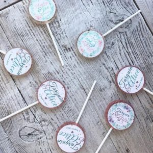 edible print wedding lollipops