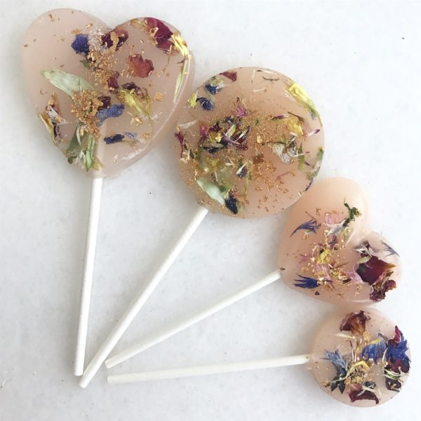edible flower lollipop